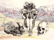 Alces, Hominid, Petra (Moose, Man, Rock), 22 x 30, pencil and watercolor on paper with wash
